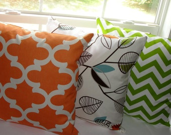 "Set of 3 Designer Throw Pillow Covers 18""x18"" Covington Green Leaf Premier Prints Green Chevron and Orange Fynn Brown Blue Leaves"