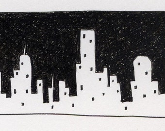 Small pen and ink drawing in black and white, ink on paper freehand cityscape free shipping in US