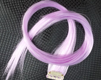 Hand Wefted Clip in up to 22 Inches Hair Extension Light Orchid Gothic Steampunk Cosplay
