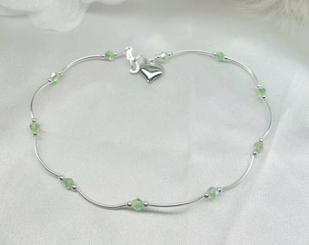 Crystal Peridot Anklet Crystal Peridot Ankle Bracelet Crystal Anklet Heart Anklet 925 Sterling Silver or Plate BuyAny3+1Free