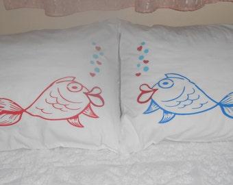 Kissing Fish, Bedroom Decor, Standard Pillowcases