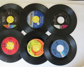 """Vinyl Records, 45 RPM, Used 7"""" Records, Motown, Vintage Music, Bobby Vee, The Supremes, Cher, Allan Sherman, The Beatles The Ventures"""