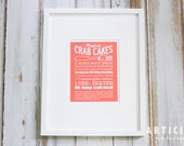 Maryland Crab Cake Kitchen Art Print with Handlettering
