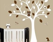 Childrens wall decal - white tree wall decal - with birds and owls - 0165