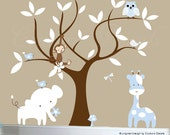 Children's jungle decal set, tree wall decal, jungle animal wall decals - 0080