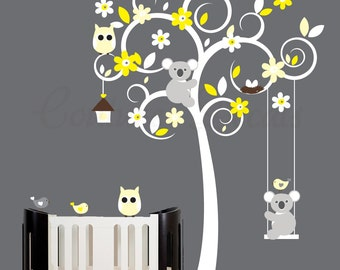 Wall sticker white tree wall decal with grey and yellow accents - 0034