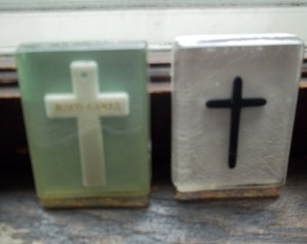 2 Vintage Resin Religious Paper Weights with Crosses