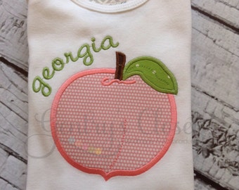 Georgia peach shirt or infant bodysuit. Personalized name. Embroidered baby shower gift. Peach tshirt for girl.