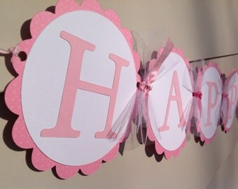 Pink and White Happy Birthday Banner