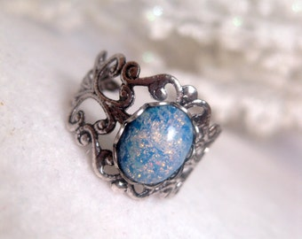 Blue Galaxy Opal Ring - Stardust - shimmer - Celestial - Metallic - Sparkly - cosmic