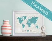 5x7 FRAMED Custom Designed Wedding Gift Map with matte or without - 2 Frame Styles to choose from