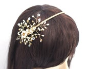 Golden Bridal Headband, wedding golden tiara, pearl tiara.
