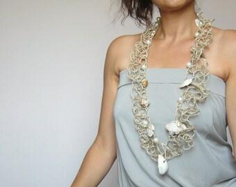 Summer jewel seashell/shell statement crochet/pearl necklace bold/fiber art statement/beach jewelry