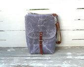 Free Shipping Grey Waxed Canvas  Mini Backpack  with Removable Leather Strap / School / Travel