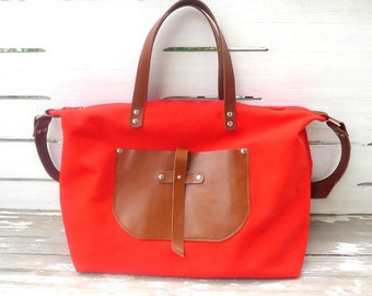 Free Express Shipping Red Canvas Weekender Bag  - Leather Double Strap Shoulder bag / Tote Bag / Diaper Bag
