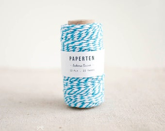 Bakers Twine Spool, Baby Blue & White - Gift Tag Twine - Wedding Favor Tag Twine - Scrapbooking - Packaging - 22 Yards (Item code: W657)