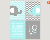 INSTANT DOWNLOAD  - Be a Superhero - Chevron Elephants - Set of of 4 jpegs - Baby Nursery Chevron, multiples, twins