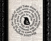 The Beatles - Blackbird Song Lyrics - Dictionary Book Print Upcycled Book Art Book Page Vintage Dictionary Book Page Print  Buy 2 Get 1 Free