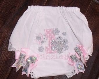 Boutique Snowflake with Number Birthday Bloomers with Bows