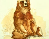Brown Bear Art, Grizzly Bear Watercolor Painting, Original Animal Art by Casey P.