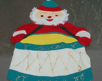 Vintage Made in Japan Holiday Mail or Christmas Card Holder, Felt Santa with Drum, Wall or Door Hanging
