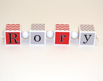 Nursery Name Blocks - Baby Shower - Personalized Gift - Baby Name - Chevron and Dots