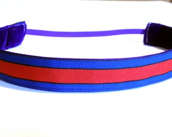 NOODLE HUGGER Non slip ribbon headband - blue with red stripe - 7/8 inch (running, working out, everyday: women and girls)