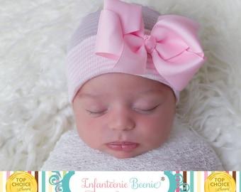 Newborn hat newborn hospital hat with bow newborn girl newborn girl hat hospital newborn hat newborn hat baby hat infanteenie beanie