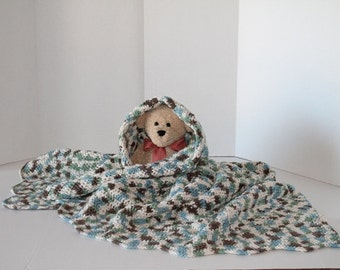 Crochet Baby Afghan - Crib Blanket - Baby Throw Laphagan - Cotton Blend Throw - Blue Green Cream and Brown Colored Yarn