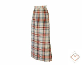 1970s plaid maxi skirt // colorful plaid vintage skirt on cream background // size medium