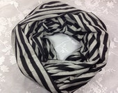 Gray Black Stripe Infinity Scarf