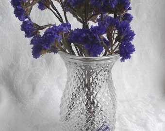 Hoosier Vase Clear Glass Diamond Pattern 4071 Hexagon Wedding Centerpiece DIY Cottage Dried Flowers Floral Arrangement US Shipping Included