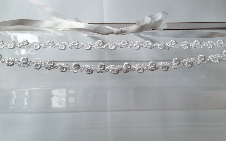 Headbands Turbans Halo I Tie Headband Black White Floral Lace Double Strand With Satin Ribbon Ties For Bridal Weddings