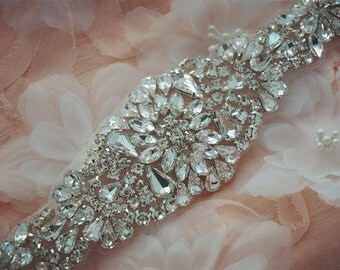 bridal applique, rhinestone bridal applique, wedding sash belts, crystal beaded sash, wedding accessories,beaded rhinestone applique