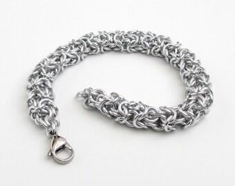 Turkish Round chainmail bracelet, silver aluminum