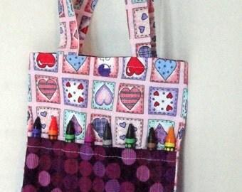 Crayon Bag - Crayon Tote - Crayon Holder - Child Art Bag - Child Purse