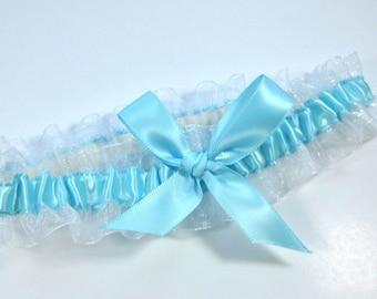 Aqua and White Bridal Garter,  Light Blue Wedding garter, Toss Garter