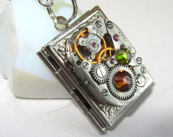 Steampunk  necklace book locket  with vintage watch  movement, Topaz  and Olive Green Swarovski crystals, Gift for Her, silver locket