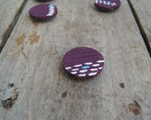 Reclaimed wood magnets  Set of 6 - Hand Painted purple abstract