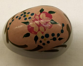 Antique Elfinware Floral Hand Painted  Egg Shaped Trinket Box from Germany