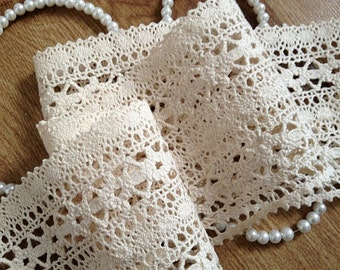 ecru Cotton Lace Trim, vintage trim Lace, crochet lace trim