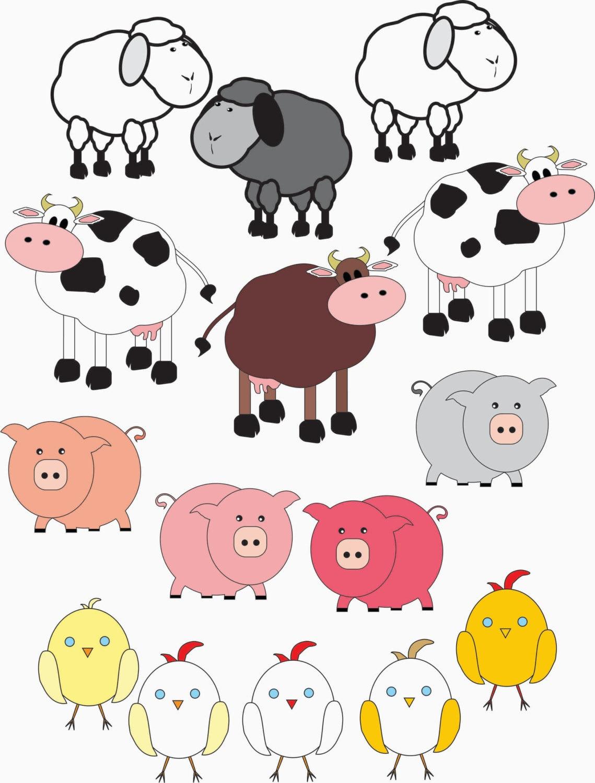 Farm animal clipart 15 farm animals pigs cows by GemmedSnailClip Art Pictures Of Farm Animals