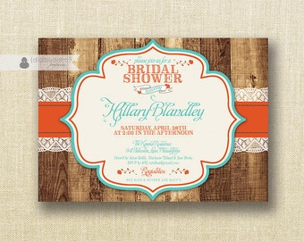 Poppy Red & Turquoise Bridal Shower Invitation Shabby Chic Rustic Wedding Script Modern FREE PRIORITY SHIPPING or DiY Printable - Hillary