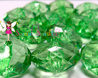 20 Chunky Beads, Spring GREEN Rondelle Beads, Big Acrylic Faceted Bubblegum Beads, 23mm