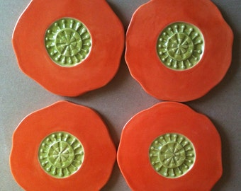 poppy, handmade ceramic coaster set