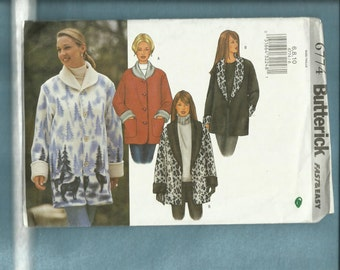 Butterick 6774 Ranch Hand Jackets with Shawl Collar & Big Rolled Cuffs Sizes 6.8.10.UNCUT