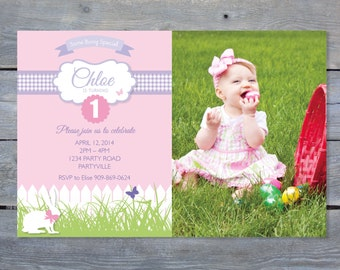 BUNNY Birthday Invitation - Easter Birthday 7x5 or 6x4 Perfect for Easter Birthday. Printable file.