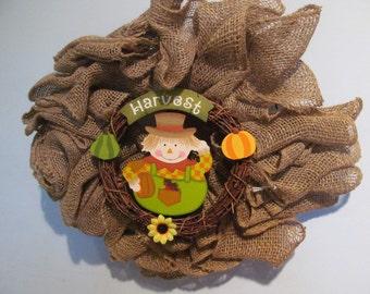 SALE Burlap Wreath with Scarecrow