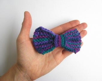 knit hair bow barrette, purple, fuchsia, emerald and teal, hair decoration for girls and women