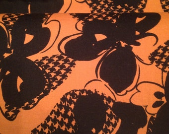Black Floral on Tan 100% Cotton Fabric x one yard